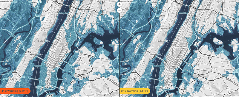 Sea level lock-in maps by Climate Central